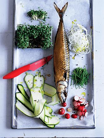 Grov rillette af røget fisk med karse-radisesalat