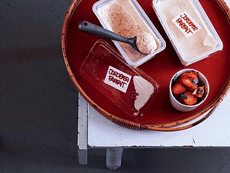 Jordbærparfait med tomat-jordbær-limesalsa