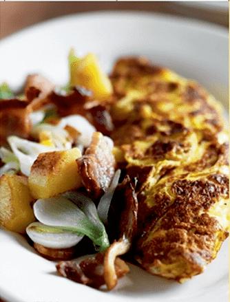 Omelet med bacon og svampe