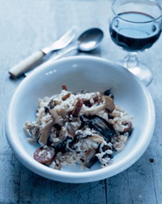 Risotto med svampe og chorizopølse