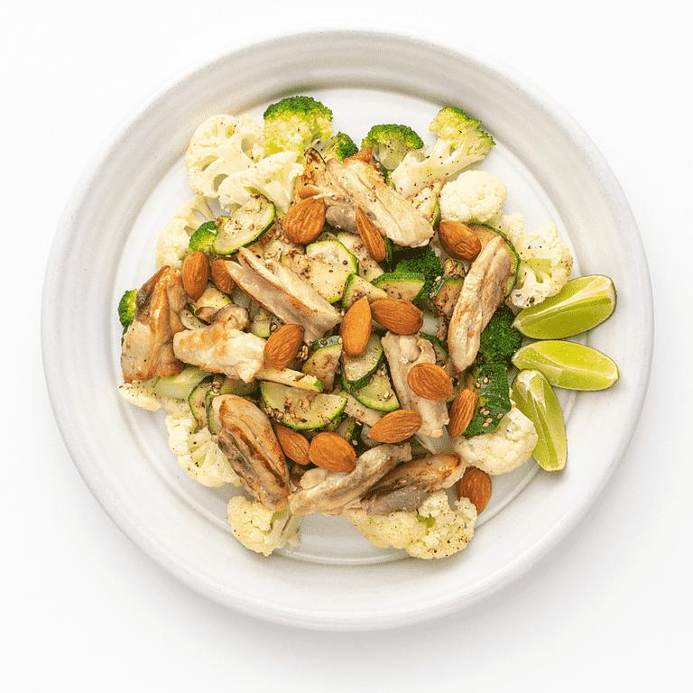 Lynstegt kylling med smørdampet grønt, mandler og za'atar