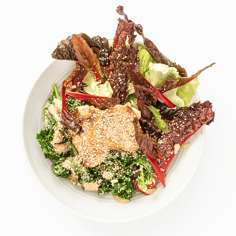 Kyllingeoverlår med dampet grønkål, sprød salat og tahindressing
