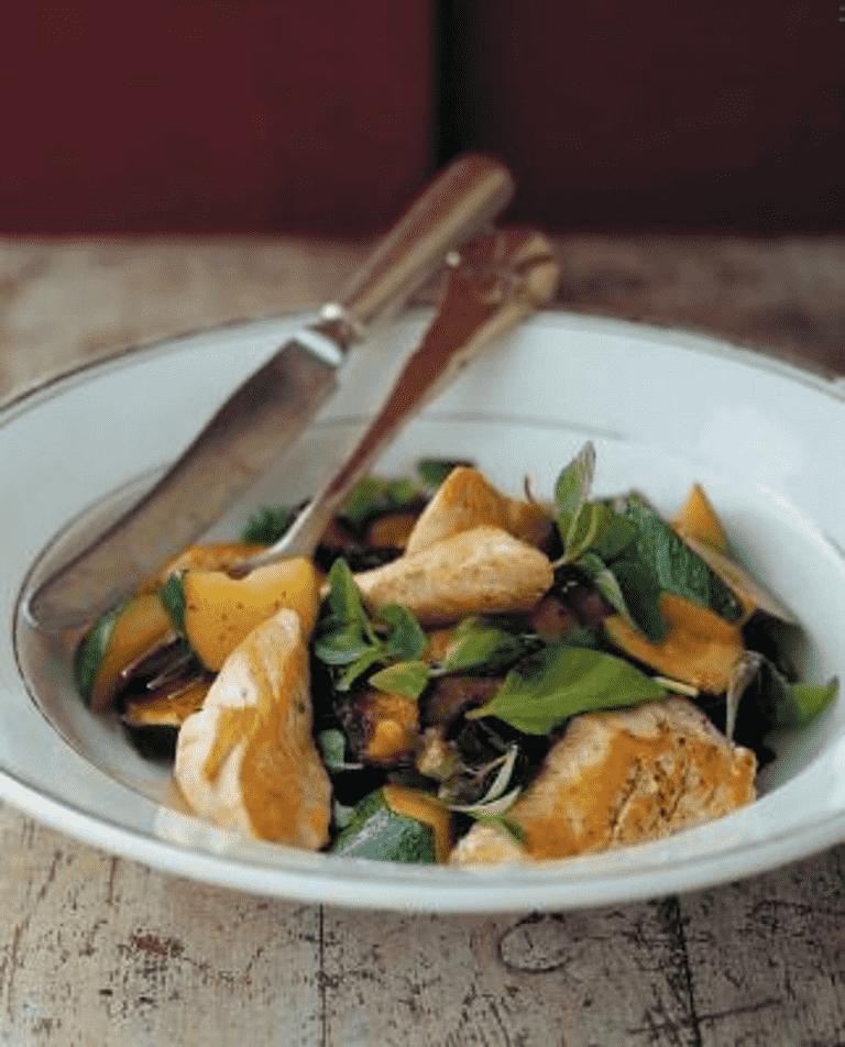 Kyckling med stekt zuccini och aubergine